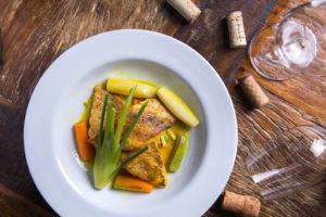 Peixe Vermelho ao Narge de Legumes